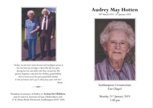 Audrey Hotten Order of Service
