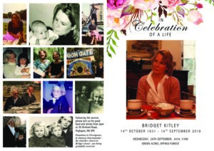Bridget Kitley Order of Service