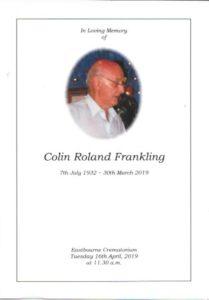 Colin Frankling Order of Service