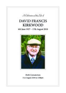 David Kirkwood Order of Service