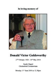 Donald Goldsworthy Order of Service