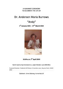 Dr Andersen Maria Burrows Archive Tribute