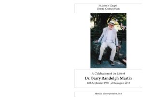 Dr Barry Martin Order of Service