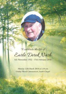 Earle Nash Order of Service