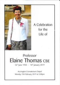 Elaine Thomas order of service