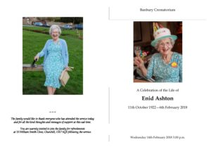 Enid Ashton Order of Service