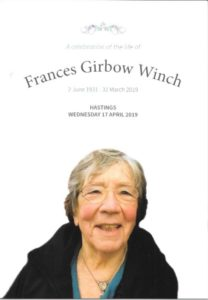 Frances Winch Order of Service