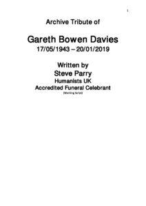 Gareth Davies Archive Tribute