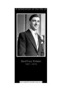 Geoffrey Kidson Archive Tribute