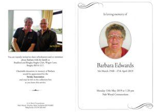 HFTA 203 Barbara Edwards Order of Service