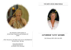 HFTA 217 Catherine Goymer Order of Service