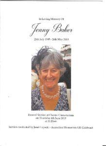HFTA 219 Jenny Baker Order of Service