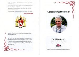 HFTA 221 Dr Alan Pratt Order of Service Outside