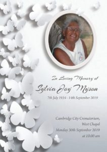 HFTA 232 Sylvia Myson Order of Service