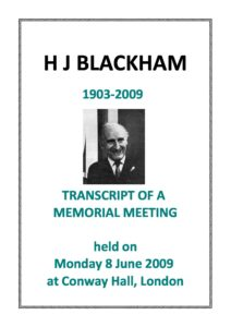 Harold Blackham Memorial Meeting Transcript