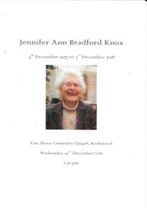 Jennifer Knox Order of Ceremony