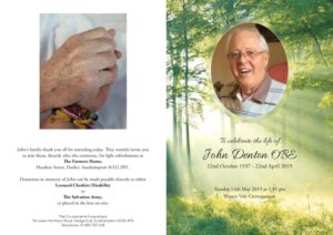 John Denton Order of Service
