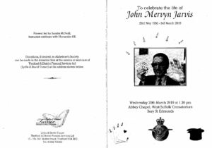 John Jarvis Order of Service (Outer)