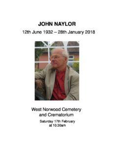 John Naylor Order of service