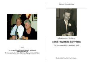 John Newman Order of Service