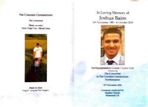 Joshua Bains Order of Service 1