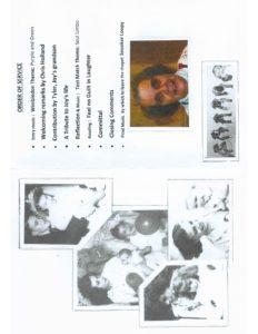 Joyce 'Joy' Parsonson Order of Service (Inside)