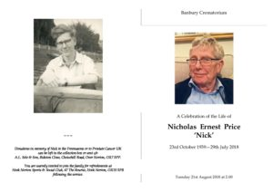 Nicholas Price Order of Service