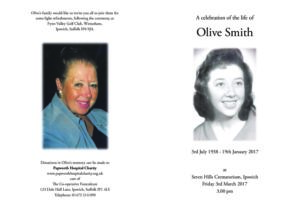 Olive Smith Order of Service