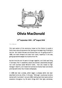 Olivia MacDonald Archive Tribute