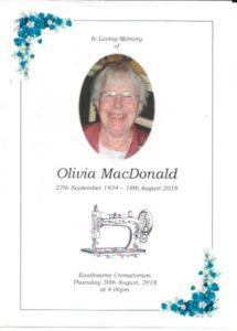 Olivia MacDonald Order of Service