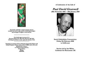 Paul Grunwell Order of Service