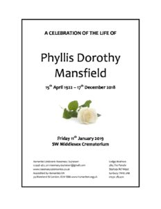 Phyllis Mansfield Archive Tribute
