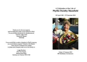 Phyllis Mansfield Order of Service