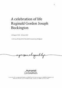 Reginald Beckington Archive Tribute