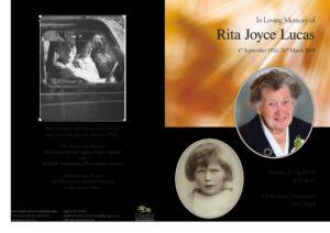 Rita Lucas Order of Service