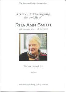 Rita Smith Order of Service