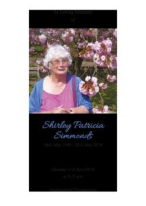Shirley Simmons Order of Service