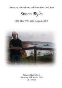 Simon Byles Order of Service