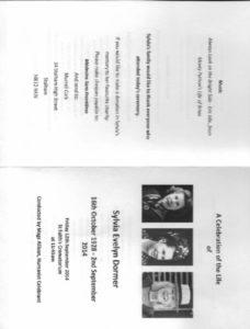 Sylvia Dormer Order of Service 1
