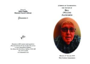 William Aldworth Order of Service