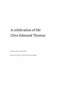 Clive Edmund Thomas Tribute Archive