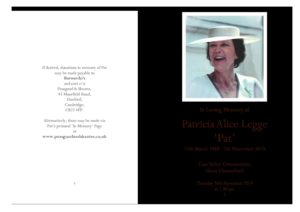 LEGGE Patricia Order of Service