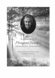 Margaret Saunders Order of Ceremony