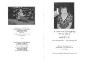 Leah Everitt Order of Service