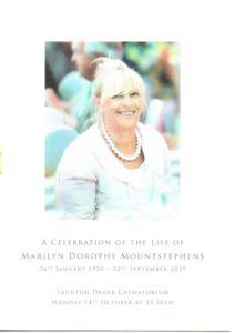 Marilyn Dorothy Mountstephens order of service