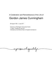 Gordon Cunningham Tribute 2017