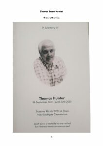 Thomas Brown Hunter Order of Service