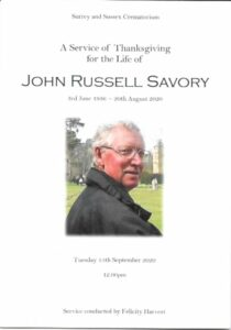 John Russell Savory Order of Service