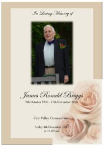 James Ronald Briggs Order of Service