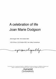 Joan Marie Dodgson Tribute Archive